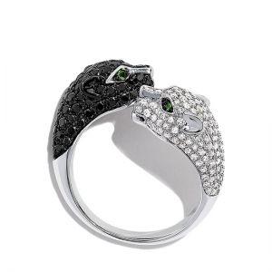 Кольцо с черными и белыми бриллиантами Кошки