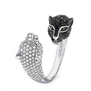 Кольцо с черными и белыми бриллиантами Кошки - Фото 1