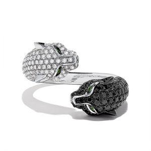 Кольцо с черными и белыми бриллиантами Кошки - Фото 2