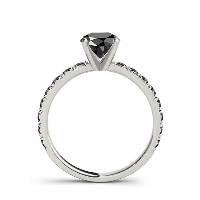 Кольцо с круглым черным бриллиантом  - Фото 3