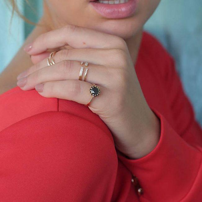 Кольцо с круглым черным бриллиантом  - Фото 2