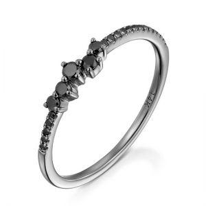 Кольцо с черными бриллиантами  - Фото 1