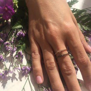 Кольцо с черными бриллиантами  - Фото 2