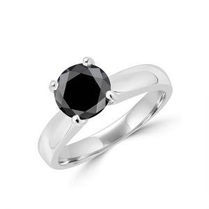 Кольцо солитер с круглым черным бриллиантом  - Фото 1