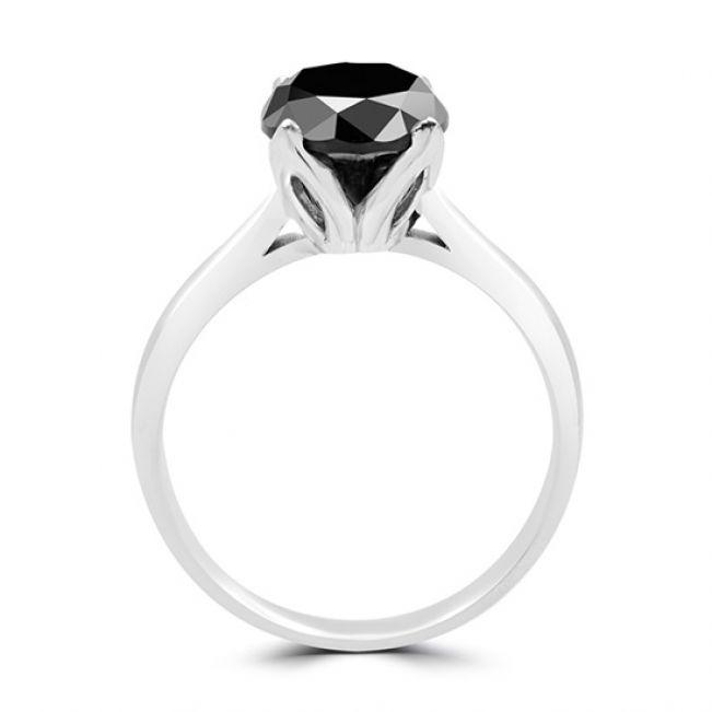 Кольцо солитер с круглым черным бриллиантом - Фото 2