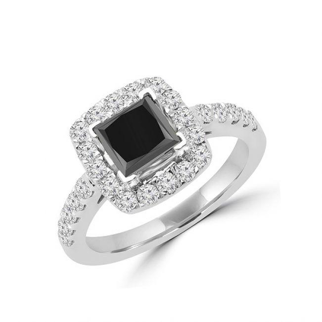Кольцо с квадратным черным бриллиантом - Фото 1