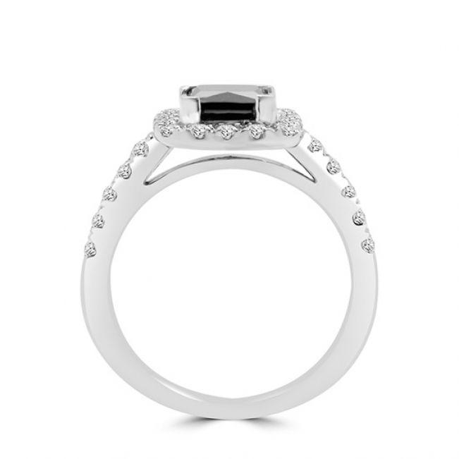 Кольцо с квадратным черным бриллиантом - Фото 2