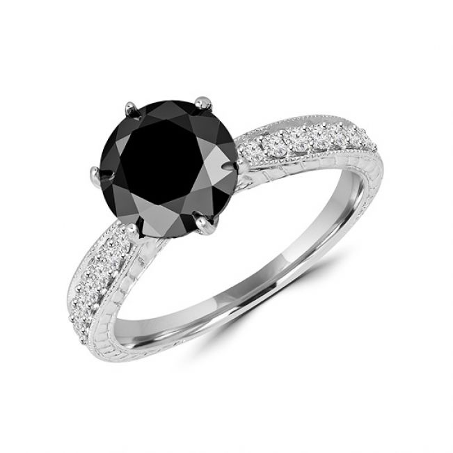 Кольцо с круглым черным бриллиантом - Фото 1