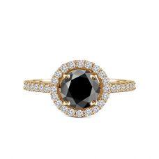 Кольцо с круглым черным бриллиантом