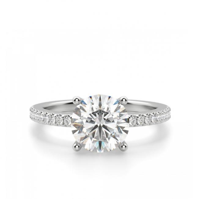 Кольцо из белого золота с бриллиантом 1 карат и паве