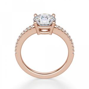 Кольцо из розового золота с бриллиантом 1 карат и паве