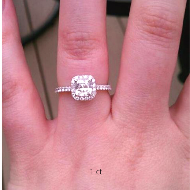 Кольцо с бриллиантом кушон 1 карат в стиле малинка - Фото 2