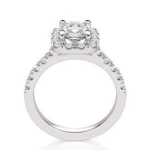 Кольцо с бриллиантом кушон 1 карат в стиле малинка