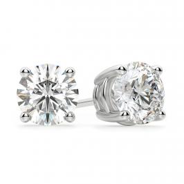 Идеальные серьги пусеты с круглыми бриллиантами
