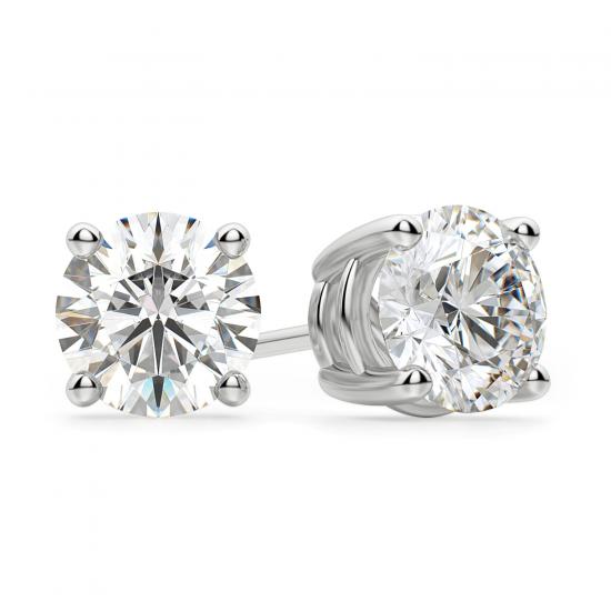 Идеальные серьги пусеты с круглыми бриллиантами, Больше Изображение 1