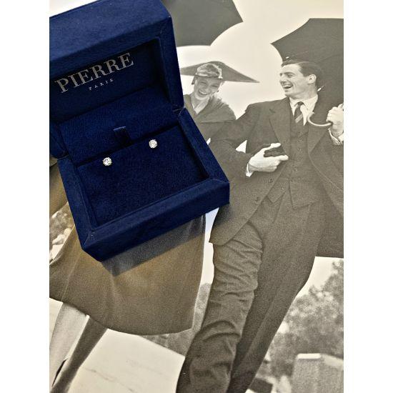 Идеальные серьги пусеты с круглыми бриллиантами,  Больше Изображение 5