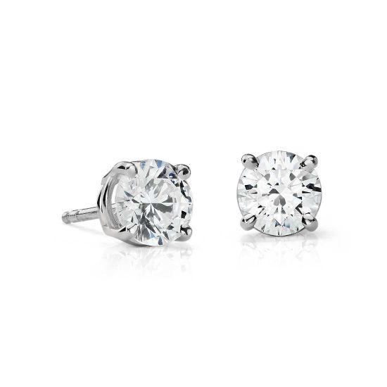 Идеальные серьги пусеты с круглыми бриллиантами,  Больше Изображение 2