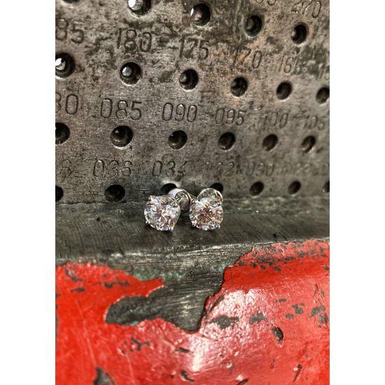 Идеальные серьги пусеты с круглыми бриллиантами,  Больше Изображение 6