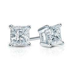 Квадратные пусеты с бриллиантами принцесса