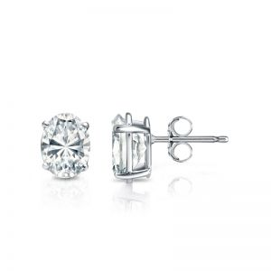 Серьги пусеты с овальными бриллиантами
