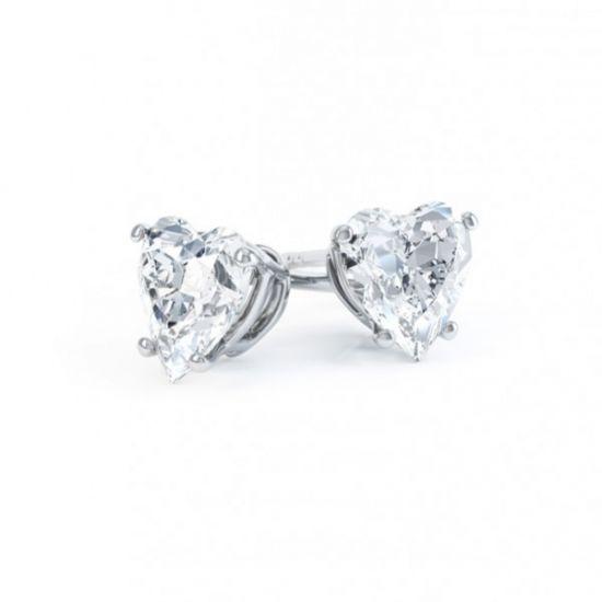 Пусеты с бриллиантами огранки сердце,  Больше Изображение 2