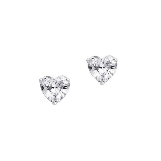 Пусеты с бриллиантами огранки сердце, Больше Изображение 1