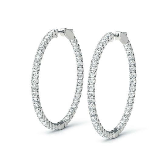 Тонкие серьги колечки с бриллиантами по кругу, Больше Изображение 1