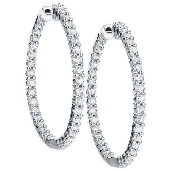 Тонкие серьги колечки с бриллиантами по кругу,  Больше Изображение 2