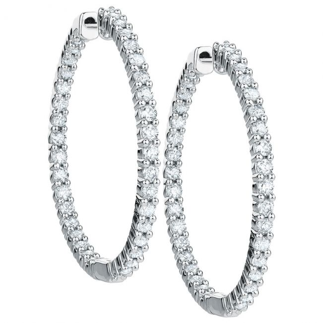Тонкие серьги колечки с бриллиантами по кругу