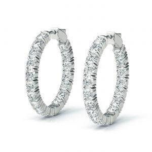 Серьги колечки с бриллиантами 4.32 карата