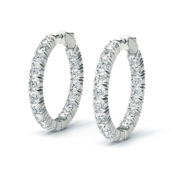 Серьги колечки с бриллиантами 4.32 карата, Больше Изображение 1