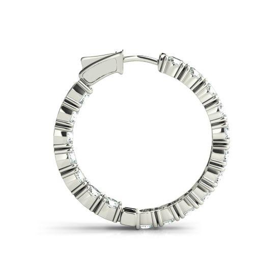 Серьги колечки с бриллиантами 4.32 карата,  Больше Изображение 2