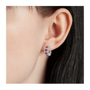 Серьги полукольца на английском замке с бриллиантами и рубинами