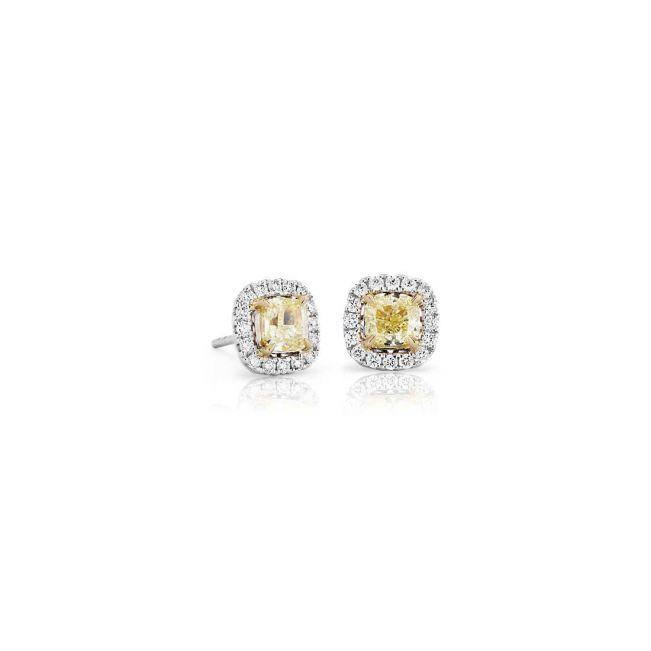 Серьги пусеты с желтыми бриллиантами с паве из белых бриллиантов