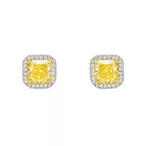 Серьги с ярко-желтыми бриллиантами