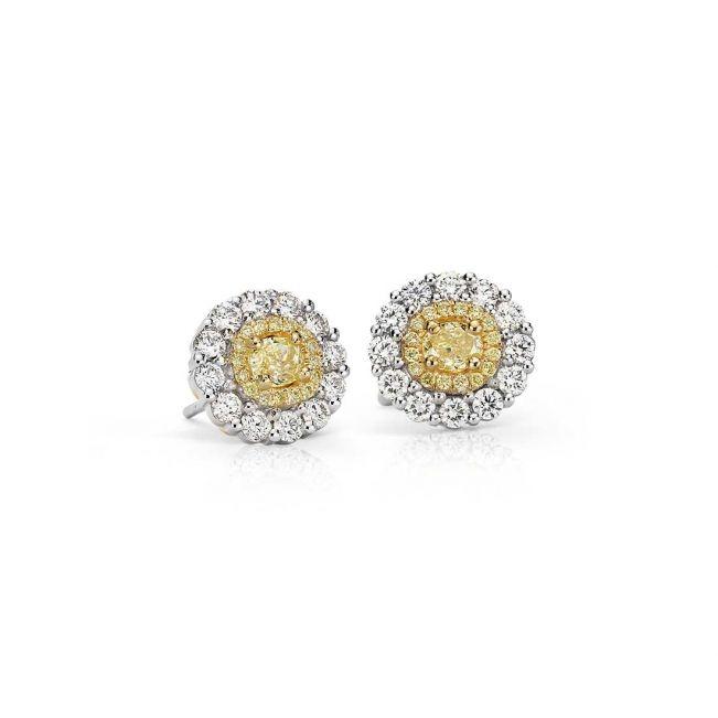 Серьги гвоздики с желтыми бриллиантами
