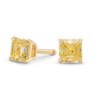 Серьги пусеты с желтыми квадратными бриллиантами - Фото 1