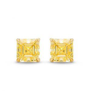 Серьги пусеты с желтыми квадратными бриллиантами