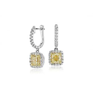 Серьги с желтыми и белыми бриллиантами