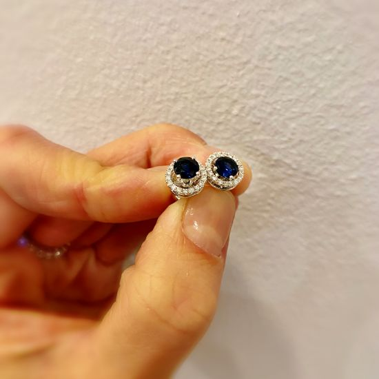 Серьги трансформеры с сапфирами и бриллиантами,  Больше Изображение 3