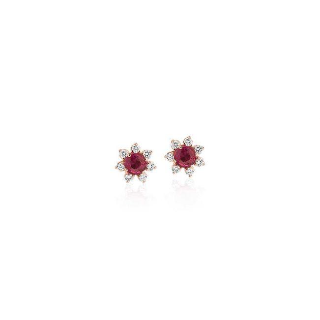 Серьги пусеты с рубинами Цветочки