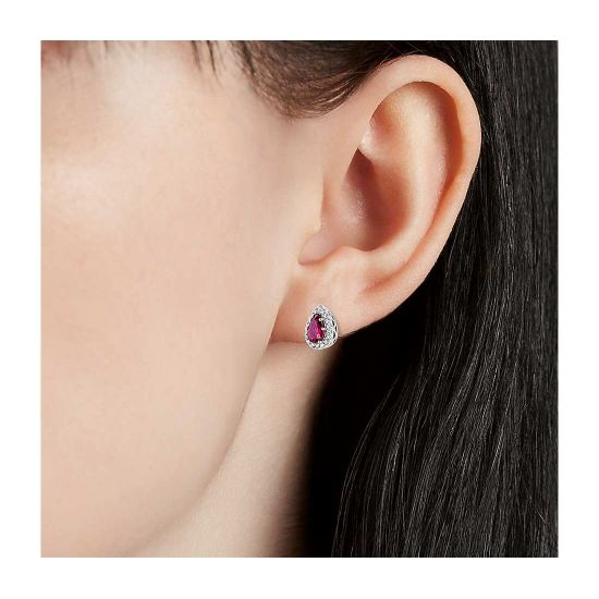 Серьги с рубинами и бриллиантами,  Больше Изображение 2