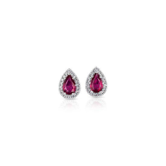 Серьги с рубинами и бриллиантами, Больше Изображение 1