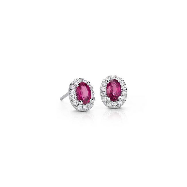 Серьги с овальными рубинами и бриллиантами