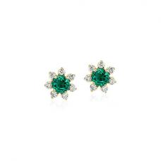 Серьги с изумрудами и бриллиантами Цветки