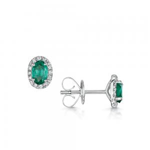 Серьги с овальными изумрудами и бриллиантами