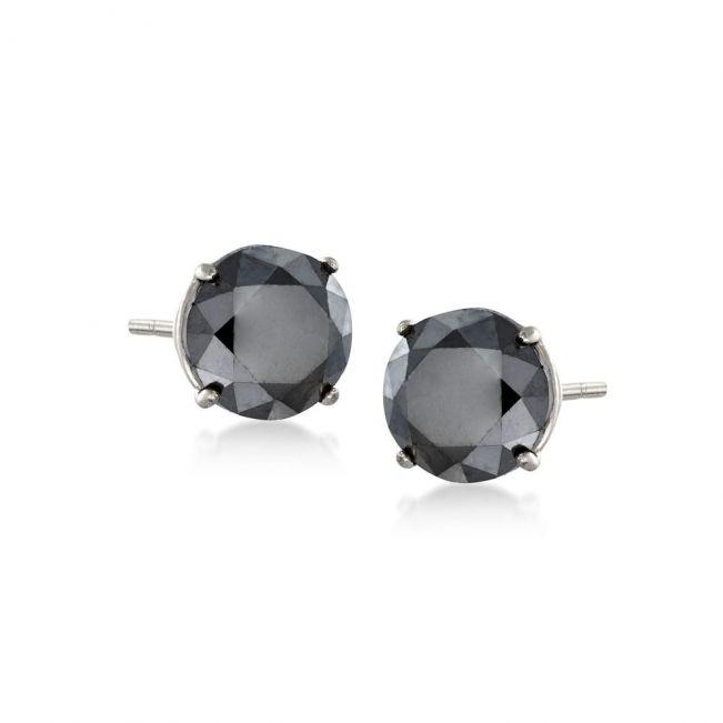Серьги пусеты с черными бриллиантами