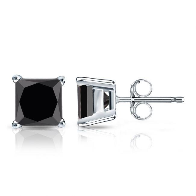 Серьги пусеты с черными бриллиантами огранки принцесса 4 мм