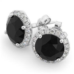 Серьги пусеты с черными и белыми бриллиантами