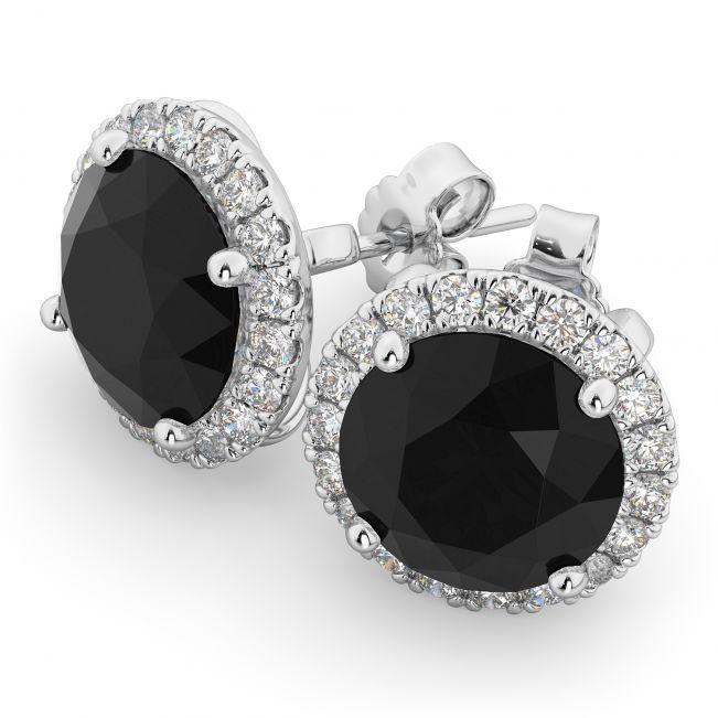 Серьги пусеты с черными бриллиантами в белом ореоле